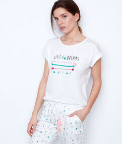 Printed and embroided t-shirt white.