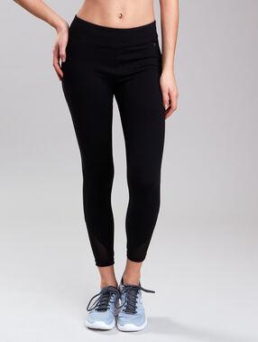 Pantalon 7/8 ultra-strech, effet galbant, avec empiècements résille noir.