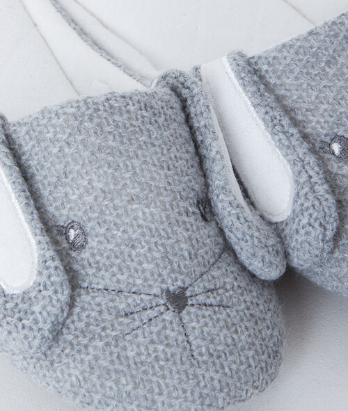 Bunny knit slippers;${refinementColor}