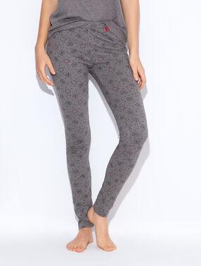 Pantalon imprimé, détails noeuds gris.