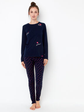 Printed lips pyjama leggings navy blue.