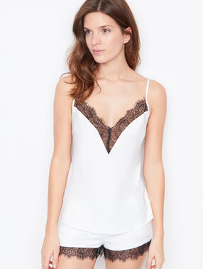 Satin lace top ecru.