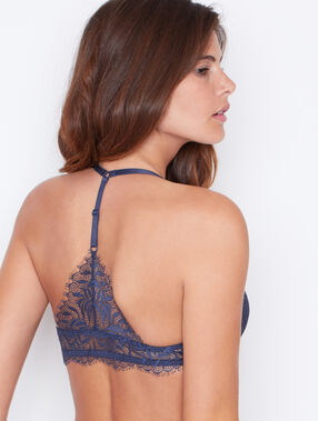 Lace triangle push up bra grey.
