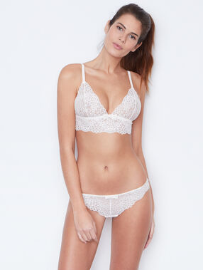 Lace triangle bra ecru.