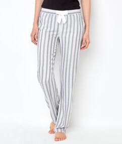 Pantalón a rayas de viscosa c.gris / blanco.