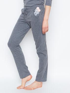 Pantalon poche imprimé monstre gris.