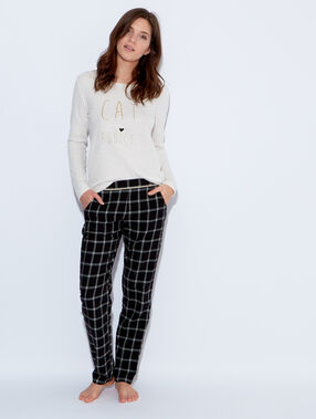 Pantalon en coton, imprimé à carreaux noir.