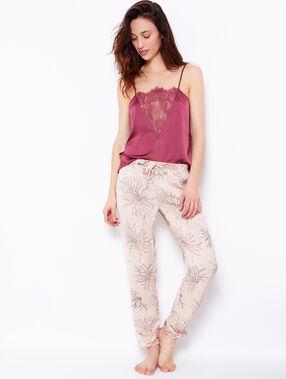 Pantalon imprimé fleurs japonaises beige / rose.