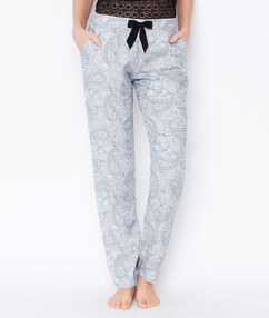 Pantalon fluide imprime blanc.