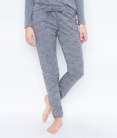 Pantalon imprime gris.