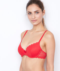 Padded demi cup bra, d cup orange.