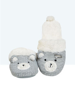Bear slippers grey.