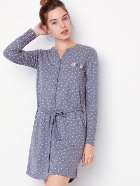 Chemise de nuit imprimée coeurs gris.