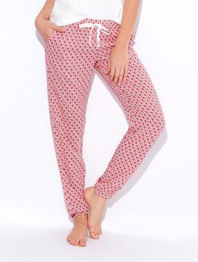 Pantalon fluide imprimé géométrique rouge / écru.
