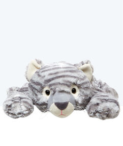 Range pyjama peluche chat tigré gris.
