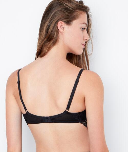 Lace padded demi cup bra, D cup;${refinementColor}