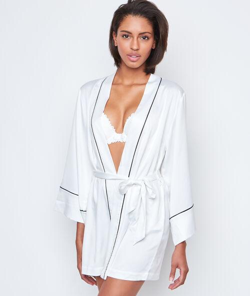 Déshabillé kimono satin contrasté;${refinementColor}