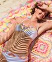 Haut de maillot de bain bandeau imprimé multicolore bohême