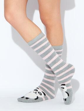 Chaussettes hautes rayées et imprimées panda gris / rose.
