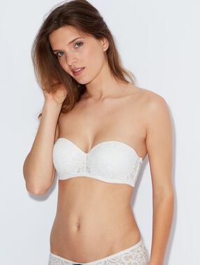 Lace push up bandeau bra white.