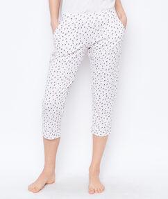 Pantalon imprime beige.