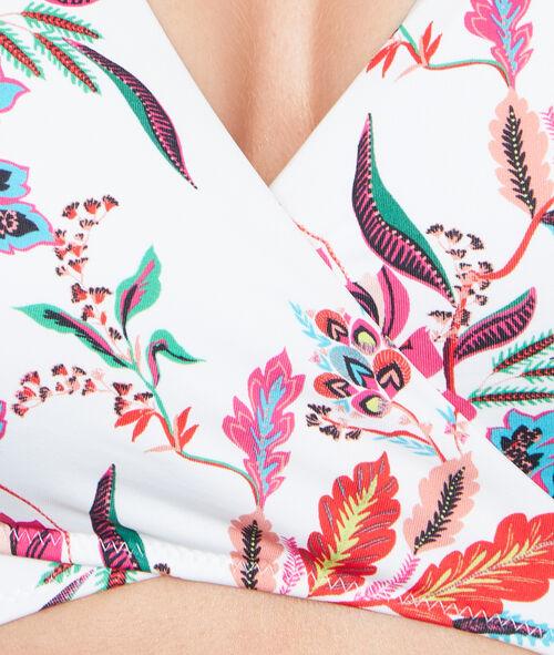 Haut de maillot de bain triangle imprimé fleurs folk;${refinementColor}