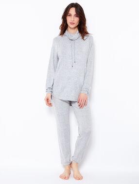 Pantalon façon jogging en maille chiné gris clair chiné.