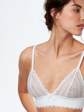 Lace triangle bra white.