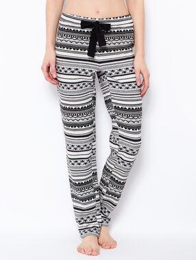 Pantalon façon jogging jacquard noir / gris.