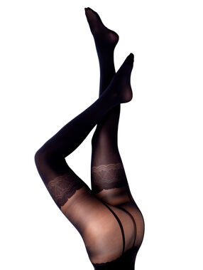 Collants illusion porte-jarretelles noir.