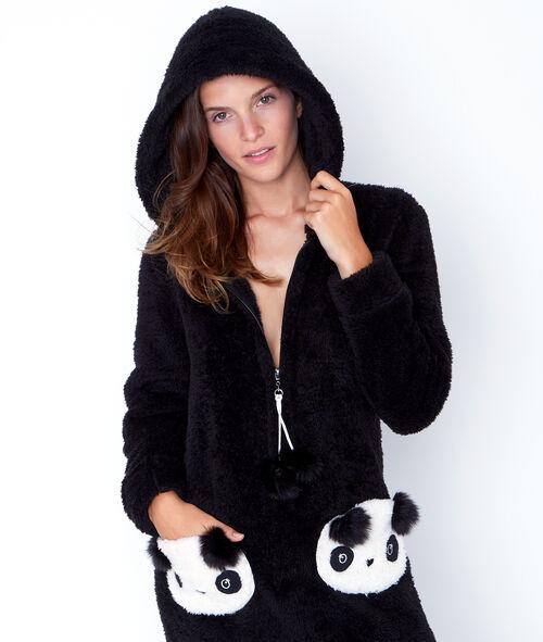 Combinaison Panda toucher polaire à capuche;${refinementColor}
