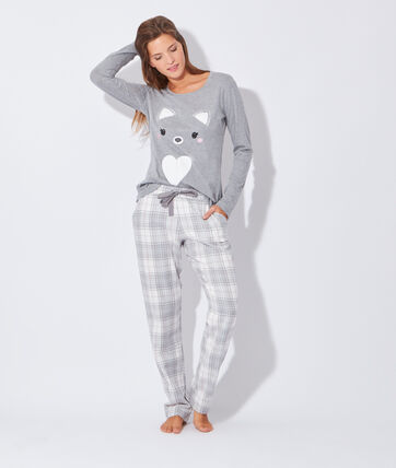 2 pieces pyjama luka grey etam. Black Bedroom Furniture Sets. Home Design Ideas