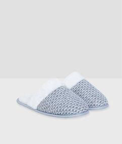 Zapatillas de punto con forro polar c. gris.