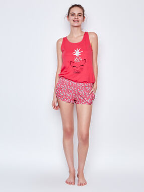 Printed short red.