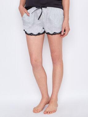 Printed pyjama shorts ecru.