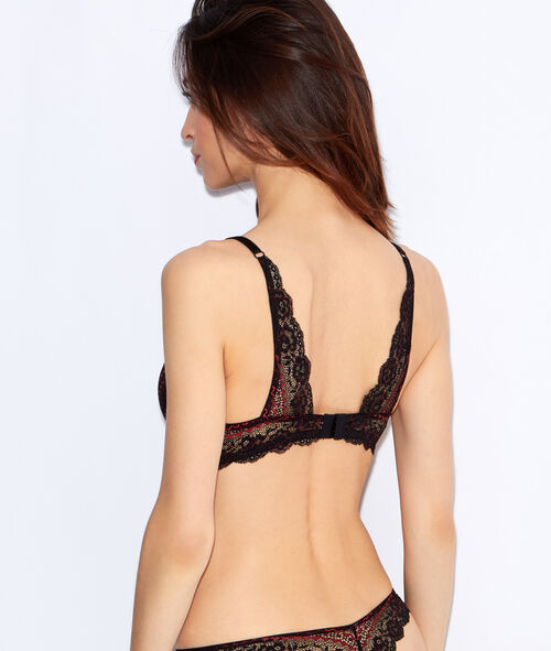 Lace push up triangle bra, satin detail