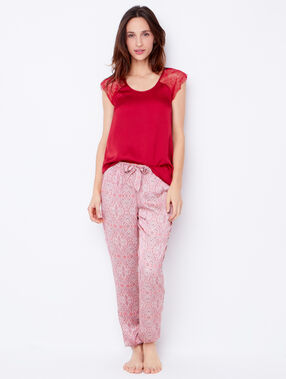 Pantalon fluide imprimé rouge.