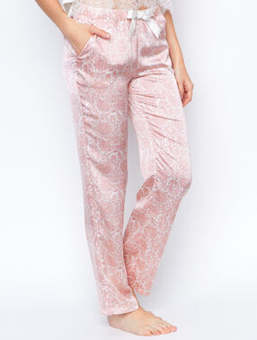 Pantalon satin imprime rose.