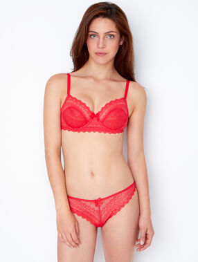 Lace demi cup, b to e cups red.