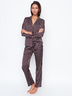 Chemise pyjama d'homme rayée noir.