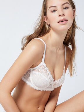 Lace demi cup bra white.