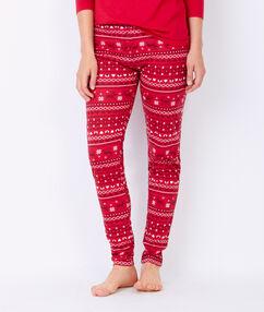 Pantalon imprimé de noël rouge.