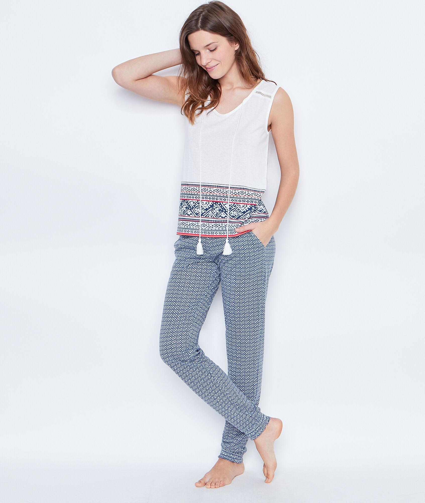 pantalon imprime bleu - Nuisette Mariage Etam