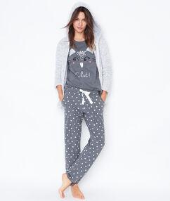 Pyjama 3 pièces, pantalon imprimé et veste toucher polaire gris.