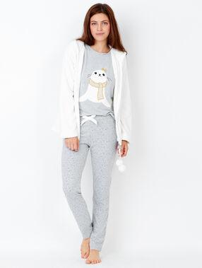 Pyjamas 3 teilig beige.