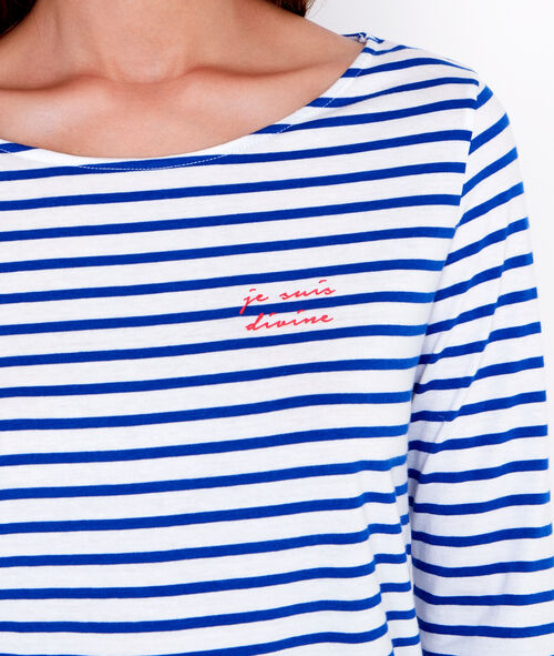 """Je suis divine"" striped pyjama top"