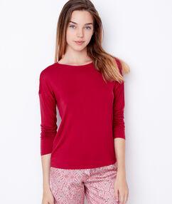 Koszulka klasyczna z wiskozy, detal koronkowy na ramionach rouge.