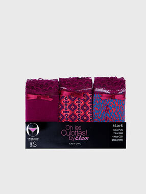 Pack of 3 knickers plum.
