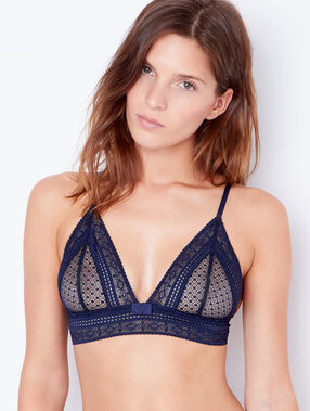Lace triangle bra blue.