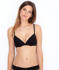 Cotton padded demi cup bra black.